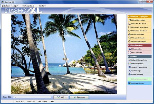 Diashow Programm mit einer integrierten Bildbearbeitung